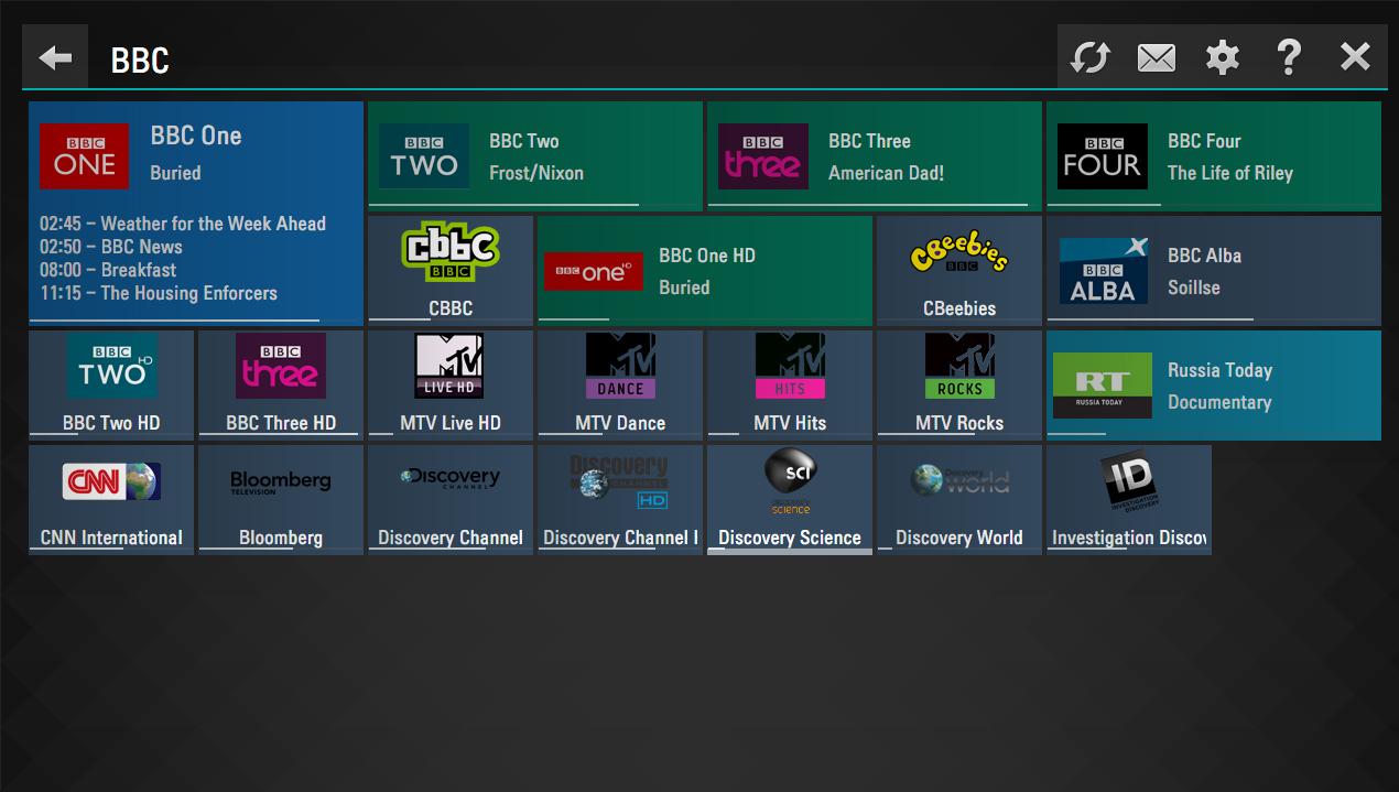 Главный экран SS IPTV