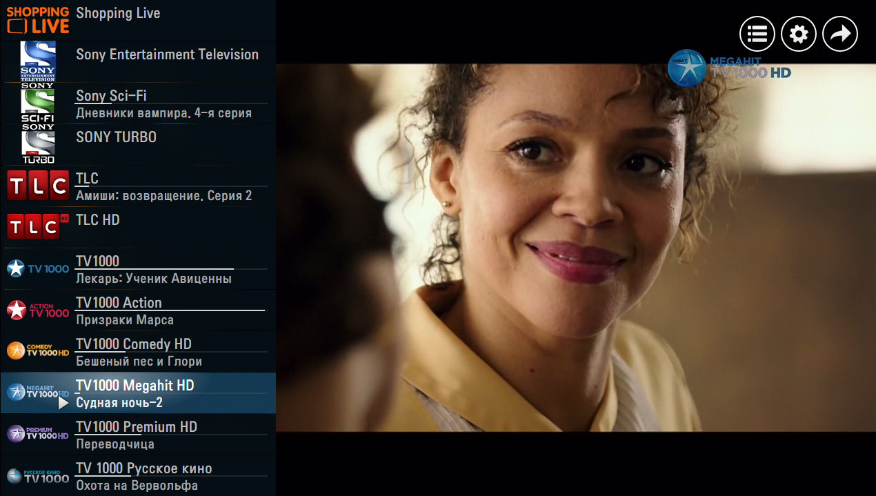 Экран воспроизведения SS IPTV